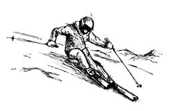 Hand sketch skier in the mountains Royalty Free Stock Photo