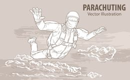 Hand sketch of skydiving athlete in the clouds. Vector sport illustration. Graphic silhouette of the man flying in the. Sky. Active people. Extreme lifestyle vector illustration