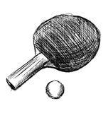Hand sketch table tennis racket and ball Royalty Free Stock Images