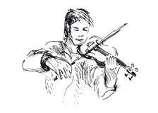 Hand sketch violinist. Vector illustration Stock Image