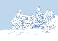 Hand sketch winter landscape Stock Photo