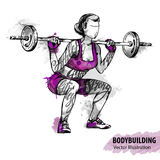 Hand sketch of a women with a barbell. Vector sport illustration. Royalty Free Stock Image