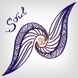 Hand sketched abstract element with lettering. Soul. Vector Drawing. Royalty Free Stock Image
