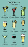 Hand sketched alcoholic beverages and cocktails glasses. Vector drinks color illustrations set, pina colada,red wine etc Royalty Free Stock Photography