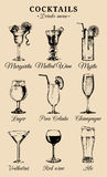 Hand sketched alcoholic beverages and cocktails glasses. Vector drinks color illustrations set, pina colada,red wine etc Royalty Free Stock Image