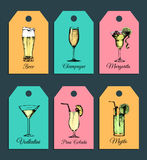 Hand sketched alcoholic cocktails glasses tags. Vector drinks illustrations set of pina colada, margarita, mojito etc. Royalty Free Stock Image