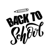 Hand sketched black color Back to school text letering on white background with drawn pencil. for logo, banner, flyer, template, vector illustration
