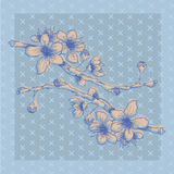 Hand-sketched blue branch with flowers Royalty Free Stock Photos