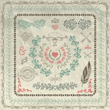 Hand Sketched Borders, Design Elements on Crumpled Stock Photos