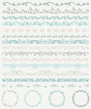 Hand Sketched Borders and Frames, Dividers, Swirls Stock Photos