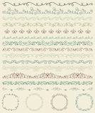 Hand Sketched Borders and Frames, Dividers, Swirls Stock Photography