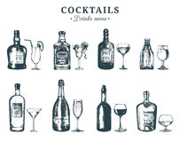 Hand sketched bottles and glasses of alcoholic beverages. Vector set of drinks,cocktails drawings. Restaurant,cafe menu. Stock Photo