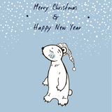 Hand Sketched Christmas Greeting Card With Cute Sleepy Bear. Merry Christmas and Happy New Year. Winter Vector Illustration Stock Images