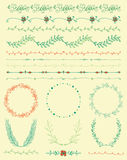 Hand Sketched Colorful Seamless Borders, Frames. Collection of  Colorful Artistic Seamless Hand Sketched Decorative Doodle Vintage Borders and Frames. Design Royalty Free Stock Photo