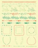 Hand Sketched Colorful Seamless Borders, Frames Stock Images