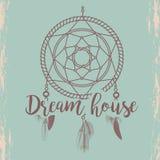 Sketched dream catcher poster vector illustration on blue. Hand sketched dream catcher and hand writting dream house sign poster, vector illustration vector illustration