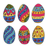 Hand sketched Easter eggs as Easter badges and icons Stock Image