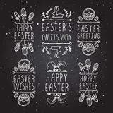 Hand-sketched easter typographic elements Royalty Free Stock Images