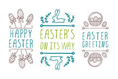 Hand-sketched easter typographic elements Royalty Free Stock Photos