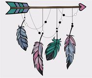Hand drawn illustration of feathers and arrow in boho style stock illustration