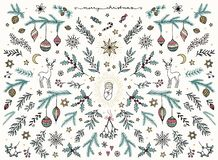 Hand sketched floral design elements for Christmas stock images