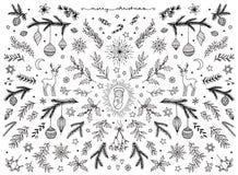 Hand sketched floral design elements for Christmas stock image