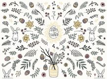 Colorful floral design elements for Easter. Hand sketched floral design elements for Easter, flowers, leaves, Easter eggs and bunny for text decoration Stock Image