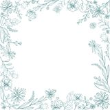 Hand sketched floral frame. Stock Photography