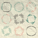 Hand Sketched Floral Frames, Borders on Crumpled. Collection of Artistic Hand Sketched Floral  Decorative Doodle Borders, Frames, Wreaths on Crumpled Paper Royalty Free Stock Images