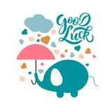 Hand sketched Good Luck T-shirt lettering typography stock illustration