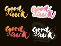 Hand sketched Good Luck T-shirt lettering typography. Drawn inspirational quotation, motivational quote. Fortune logotype, badge, stock illustration