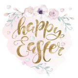 Hand sketched Happy Easter bunny typography lettering overlay poster with watercolor element. Modern calligraphy. Hand sketched Happy Easter typography lettering vector illustration