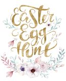 Hand sketched Happy Easter bunny typography lettering overlay poster with watercolor element. Modern calligraphy. Hand sketched Happy Easter typography lettering stock illustration