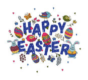 Hand sketched Happy Easter set as Easter logotype, badge or icon royalty free illustration