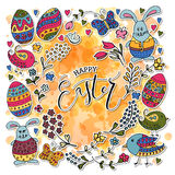 Hand sketched Happy Easter set as Easter logotype, badge or icon stock illustration