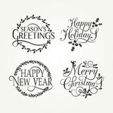 Hand sketched Happy holidays badge and icon set Royalty Free Stock Photography