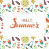 Hand sketched Hello Summer typography lettering poster Stock Image