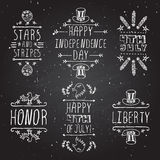 Hand-sketched independence day typographic. Elements on chalkboard background.  Stars and stripes. Happy Independence Day. Happy 4th of July. Honor and Liberty Stock Image
