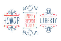 Hand-sketched independence day typographic Royalty Free Stock Image