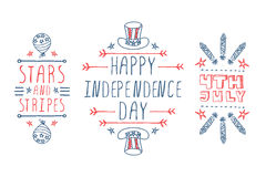 Hand-sketched independence day typographic Royalty Free Stock Photography
