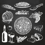 Hand sketched italian menu. Vector mediterranean cuisine food sketches on chalkboard. Illustrations for cafe, bar menu. Stock Photos
