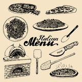 Hand sketched italian menu. Vector set of drawn mediterranean food elements with lettering in ink style. Royalty Free Stock Photo