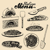 Hand sketched italian menu. Vector set of drawn mediterranean food elements with lettering in ink style. Stock Images