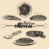 Hand sketched italian menu. Vector set of drawn mediterranean food elements with lettering in ink style. Stock Image