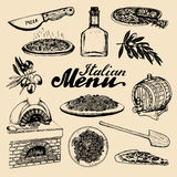 Hand sketched italian menu. Vector set of drawn mediterranean food elements with lettering in ink style. Royalty Free Stock Photos