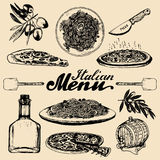 Hand sketched italian menu. Vector set of drawn mediterranean food elements with lettering in ink style. Stock Photo