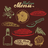 Hand sketched italian menu. Vector set of drawn mediterranean food elements with lettering in ink style. Stock Photography