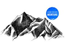 Mountain peaks background. Hand sketched mountain peaks background. Vector illustration Royalty Free Stock Image