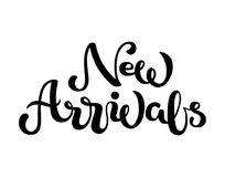 Hand sketched New Arrivals black textured text Stock Photo
