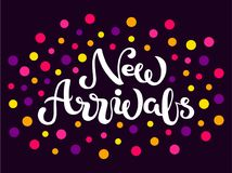 Hand sketched New Arrivals text on dark background stock illustration